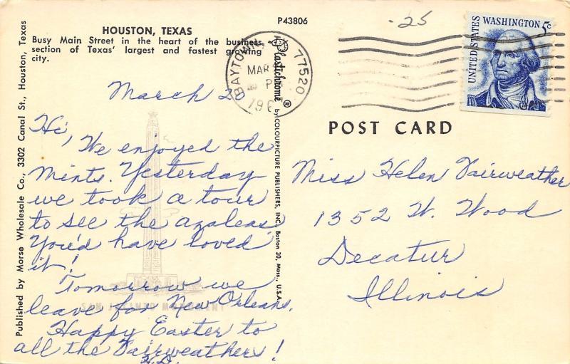 Houston Texas~Main Street Howdy~FW Woolworth~Krupp & Tuffley~1965 Postcard