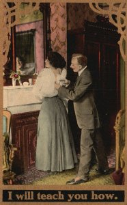 ?Vintage Postcard 1910 I Will Teach You How Zip Back Dress Fixing Clothes Art
