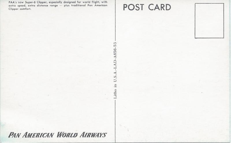 Pan American World Airways, PAA Super-6 Clipper, Postcard, Unused