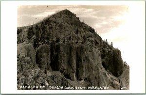 Beacon Rock State Park, Washington RPPC Postcard Beacon Mt. WPS Photo c1940s