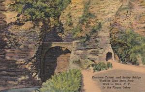New York Watkins Glen Entrance Tunnel and Sentry Bridge 1952 Curteich