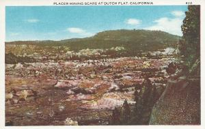 Placer Mining Scars at Dutch Flat, California, Early Postcard, unused