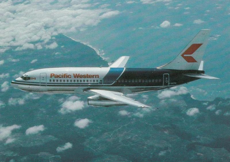 Pacific Western Airlines Boeing 737 Jet Airplane , 70-80s