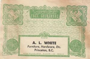VANCOUVER, B.C., 00-10s ; $1 Coupon redeemable for Chinaware, A. L. White