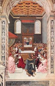 Postcard Siena Libreria del Duomo Pinturicchio, Enea Picolomini Creato Cardinale