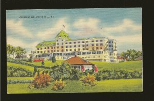 USA Postmark 1946 Watch Hill Station Ocean House Watch Hill RI Linen Postcard