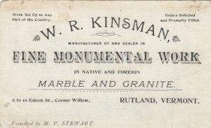 RUTLAND, VT, 1890s ; W.R. Kinsman , Fine Monumental Work