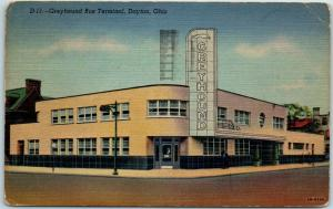 Dayton, Ohio Postcard GREYHOUND BUS TERMINAL Art Deco Building Linen 1949 Cancel