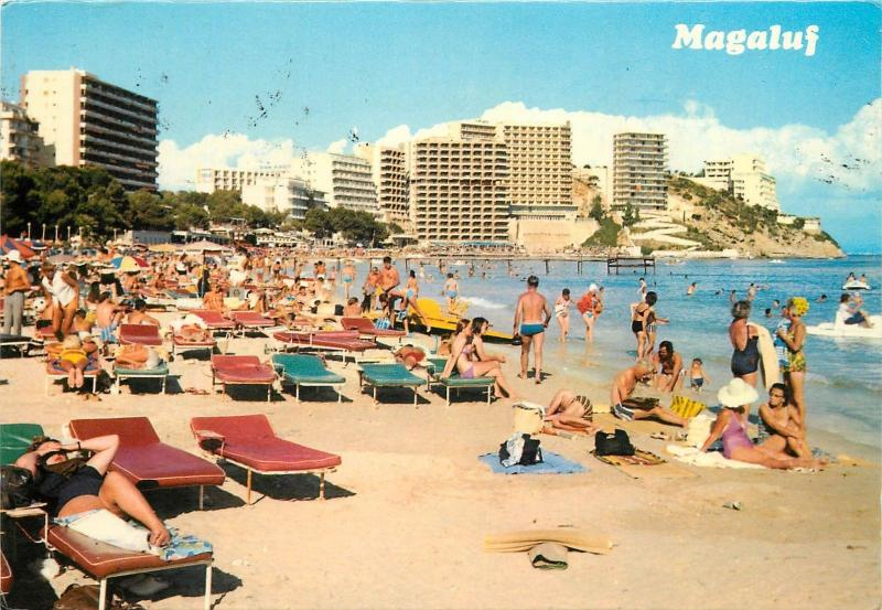 Spain Mallorca Magaluf animated beach