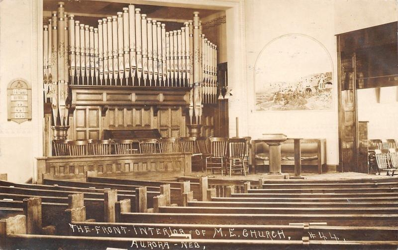 Aurora NE~United Methodist Episcopal Church~Pews, Podium & Pipe Organ~1910 RPPC