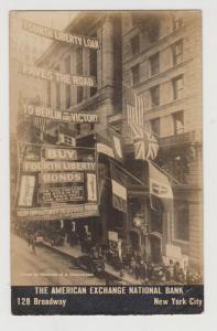 RARE LIBERTY BOND DRIVE REAL PHOTO PC OF AMERICAN EXCHANGE BANK, 128 B'WAY, NYC
