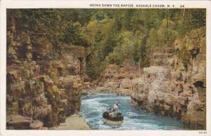 New York Ausable Chasm Going Down The Rapids 1934 Curteich