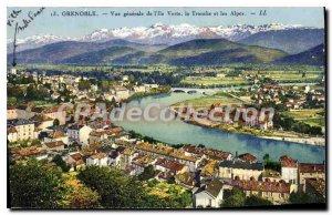Old Postcard Grenoble Vue Generale De La Tronche I'Ile Green And The Alps