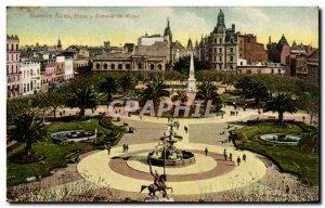 Old Postcard Argentina Buenos Aires Plaza y Avenida de Mayo