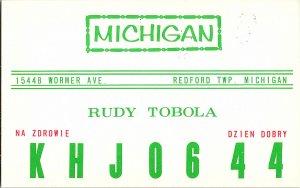 QSL Radio Card From Redford Twp. Michigan KHJ0644