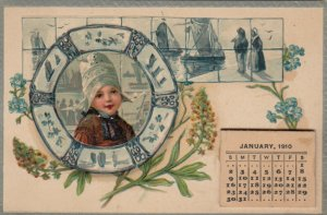 Dutch girl in frame, Flowers, Sail boats, 1910 Calendar, PFB 6998