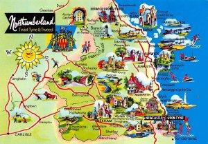Map Postcard of Northumberland twixt Tyne & Tweed Newcastle Berwick Morpeth AV6