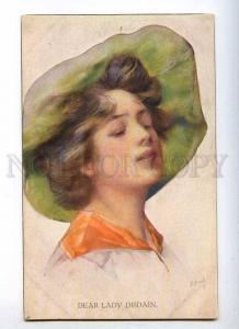 233474 Dear Lady Disdain BELLE in Hat Vintage postcard