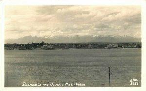 Bremerton Olympic Mountains Washington Ellis 1940s RPPC Photo Postcard 20-2524