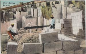 Foreign Postcard c1910 BERMUDA United Kingdom STONE QUARRY Workers Native