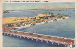 Florida Yachts Moored Along Miami And Miami Beach Causeway 1940