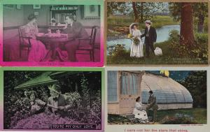 0139 Grabbag Auction 4 Romantic Couples Postcards Starting At .99