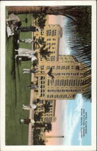 Miami Beach FL Hotel Flamingo Golf Golfing Putting Green c1920 Postcard myn