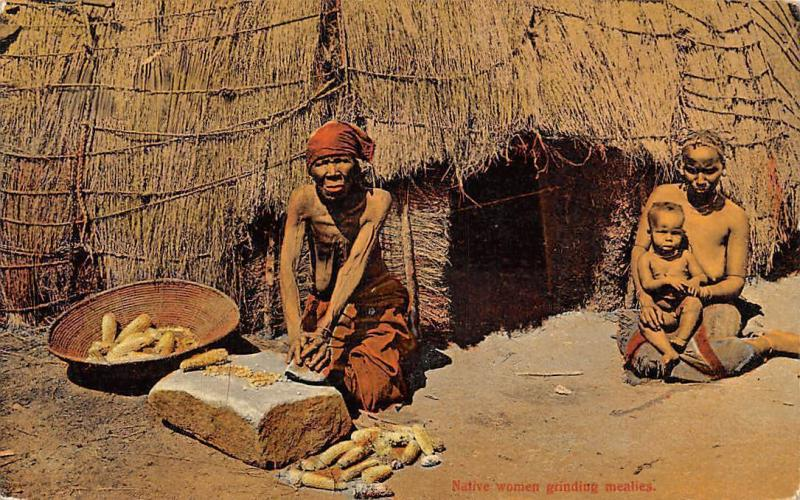 South Africa Native Women Grinding Mealies, Tribe, Baby, Child
