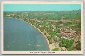 Beulah Michigan~Air View of Beach & Lake~Vintage Postcard
