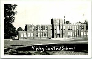 Ripley, New York RPPC Photo Postcard RIPLEY CENTRAL SCHOOL Building View 1947