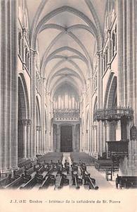 Switzerland Old Vintage Antique Post Card Geneve Interieur de la cathedrale d...