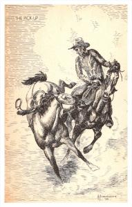 3621  Cowboy catching Horse  signed Pendergraft 1939