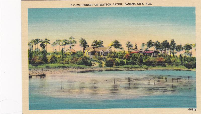Sunset on Watson Bayou,  Panama City,  Florida,  30-40s