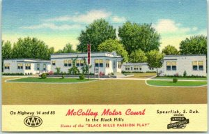 Vintage SPEARFISH SD Postcard McCOLLEY MOTOR COURT Route 14 Roadside Linen 1950s