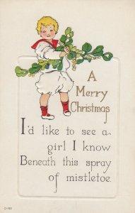 CHRISTMAS, 1900-10s; Sailor Boy holding rope of Mistletoe, Message