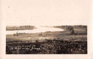 New Brunswick Canada birds eye view bend in Jemseg River real photo pc ZC549355