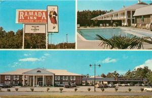 Ramada Inn Florence South Carolina SC roadside hotel old cars Postcard