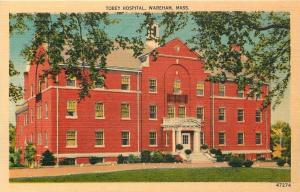 Wareham Massachusetts~Tobey Hospital~Stoop Columns~Belfry~ 1940s Postcard