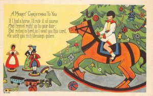 A Merry Christmas To You Rocking Horse, Tree, Toys Art Deco Vintage Postcard