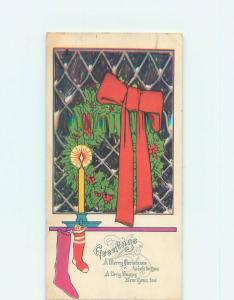 Pre-Linen christmas STOCKINGS FOR SANTA WITH CANDLE AND HOLLY WREATH HQ6703