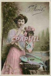 Old Postcard April 1st Woman