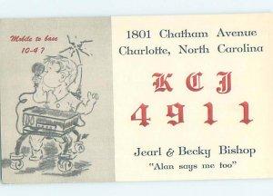 Pre-1980 RADIO CARD - CB HAM OR QSL Charlotte North Carolina NC AH1800