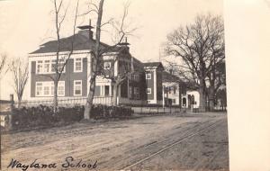 Wayland Massachusetts~Street Past High School~1906 Real Photo Postcard~RPPC