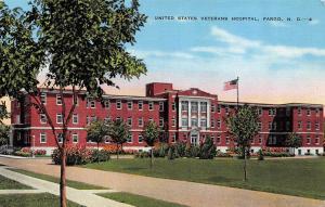 FARGO, ND  North Dakota  UNITED STATES VETERANS HOSPITAL  c1940's Linen Postcard