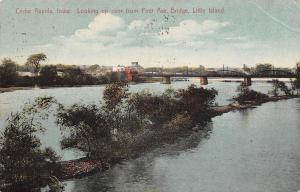 Cedar Rapids Iowa~Little Island~First Ave Bridge~Buildings~1912 Postcard