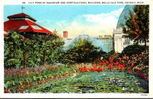 Michigan Detroit Belle Isle Park Lily Pond At Aquarium and Horticultural Buil...