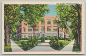 Greenville Ohio~High School Entrance~1940s Linen Postcard
