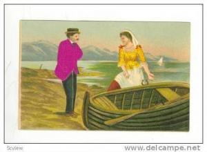 Silk suited man & woman by boat, 00-10s