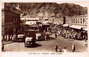 Yemen Aden Fair day at Maidan real photo Postcard