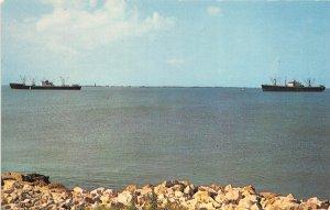 Galveston Texas 1960s Postcard Ships At Anchor In Galveston Bay